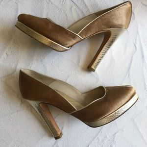 Reiss Gold Leather and Tan Silk Platform Heels 38